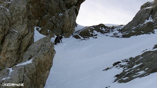 El estrechamiento, antes del hombro que conduce a la cima del Perdido...