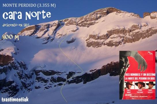la cara norte del perdido desde Tucarroya, con el itinerario que elegimos para bajar esquiando...