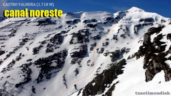 Vista del Castro Valnera y su canal noreste. Foto web en condiciones de nieve similares a las encontradas este domingo.