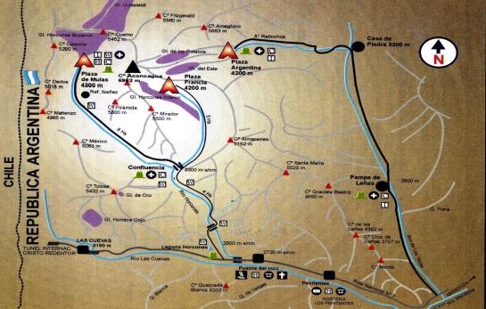 Esquema del Parque Provincial del Aconcagua