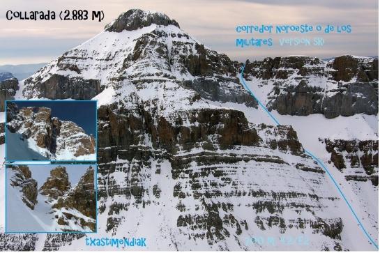 Vista del corredor noroeste. Foto que saqué en 2009 desde la cima de la Pala de Ip.