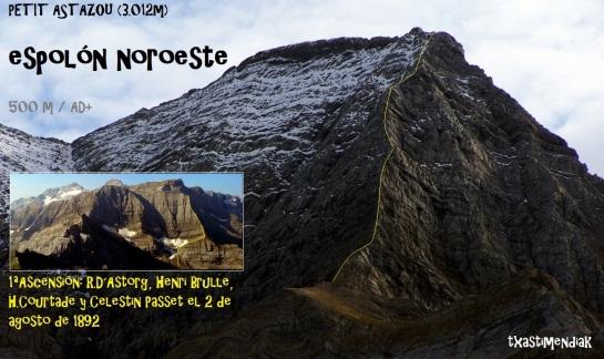 Itinerario aproximado y vista general del Espolón Noroeste del Petit pic d´Astazou