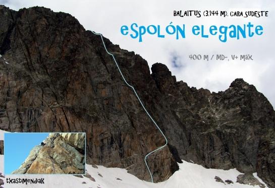 """Línea aproximada de la vía """"Espolón Elegante"""" en la vertiente sudeste del Balaitus"""