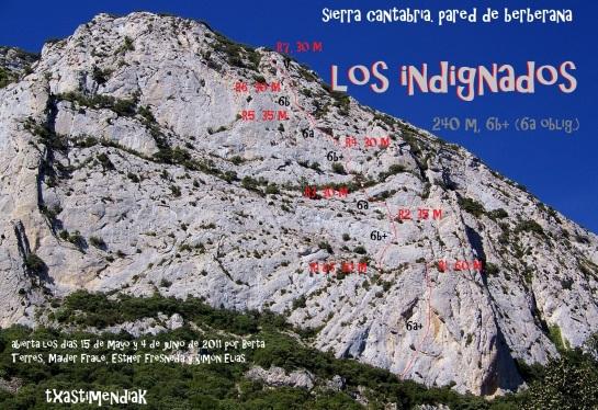 """La amplia pared de Berberana con """"Los Indignados"""" en su derecha..."""