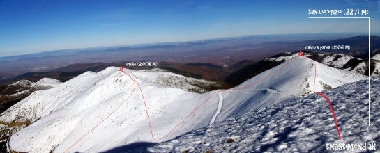 Vistas de la Cuña (2.008 m) y Cabeza Parda (2.106 m) desde el San Lorenzo