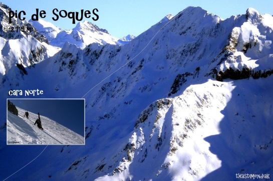 A lo lejos, la norte del Pic de Soques con el itinerario aproximado...