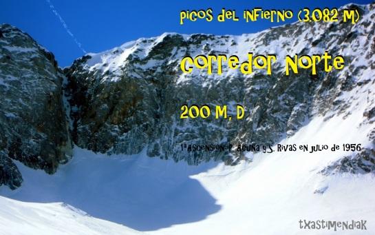 La muralla norte de los picos del infierno desde la aproximación con la hendidura característica del corredor norte
