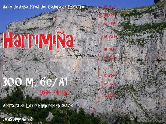 """Pared del Codero de Ezkaurre con el itinerario aproximado de """"Harrimiña"""""""