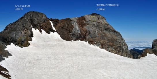 Panorama de Clot de la Hount Y Vignemale con la situación de las cuevas...