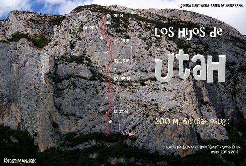 """La pared de Berberana con las líneas de """"El Regalo"""" y de """"Los Hijos de Utah"""""""