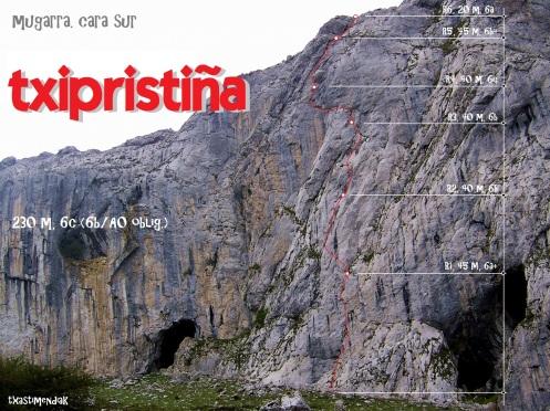 """Vista de la vertiente sur del Mugarra con el itinerario de """"Txipristiña"""""""