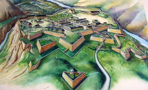 Gráfico del bonito pueblo de Mont Dauphin junto a la estación de Ceillac...