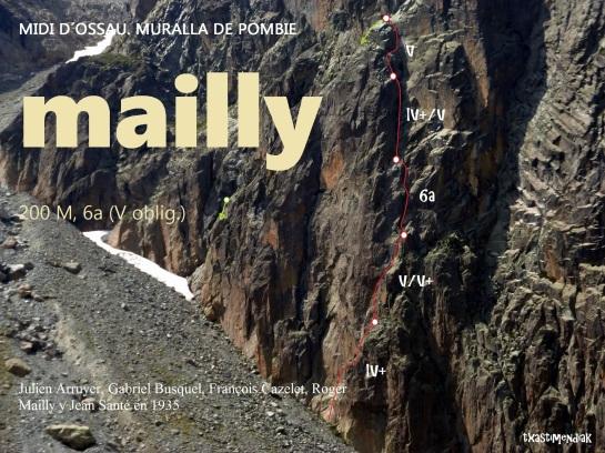 """Itinerario aproximado de la vía """"Mailly"""" en la Muralla de Pombie"""