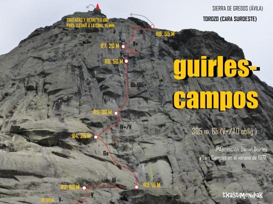 Detalle de la pared suroeste del Torozo, con el itinerario de la Guirles-Campos