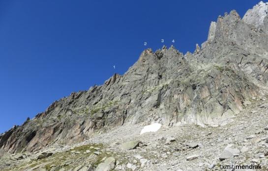 La arista desde el lado opuesto (el del descenso)