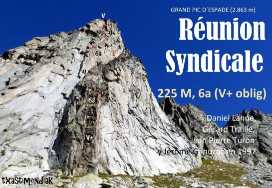 """La pared del Pic d´Espade con el itinerario aproximado de """"Réunion Syndicale"""""""
