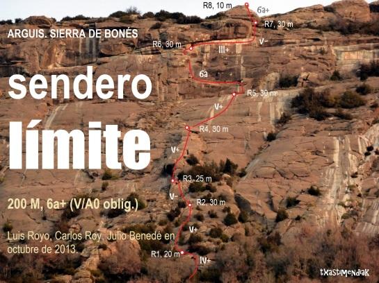 """La pared de Arguis desde el parking, con el itinerario de """"Sendero Límite"""" aproximado..."""