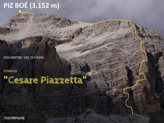 "Itinerario aproximado de la ferrata ""Cesare Piazzetta""al Piz Boé"