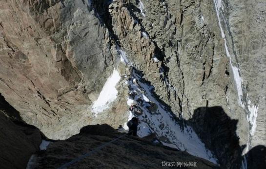 Rápeles para descender hacia la Pointe Isolèe