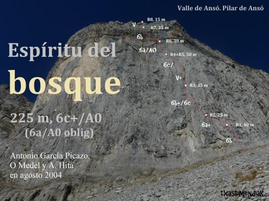 """La bonita pared de """"El Espíritu del Bosque"""" durante el descenso..."""