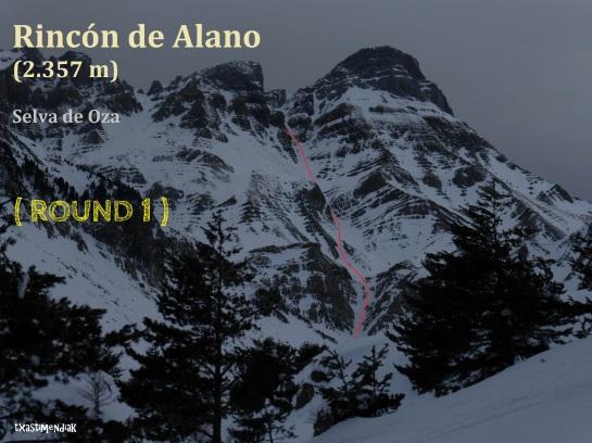 El corredor este del Rincón de Alano, con la línea aproximada que seguimos...